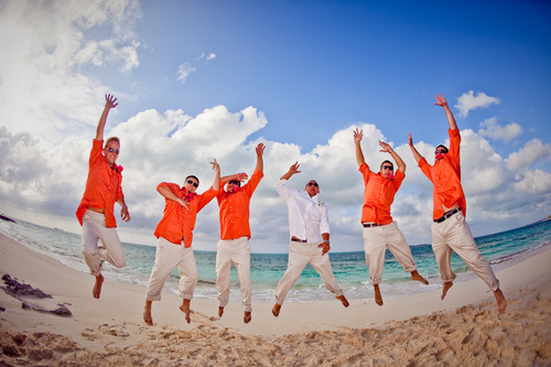 groomsmen on the beach