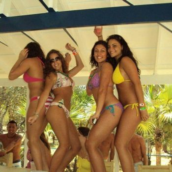 spring break girls dancing beach bar