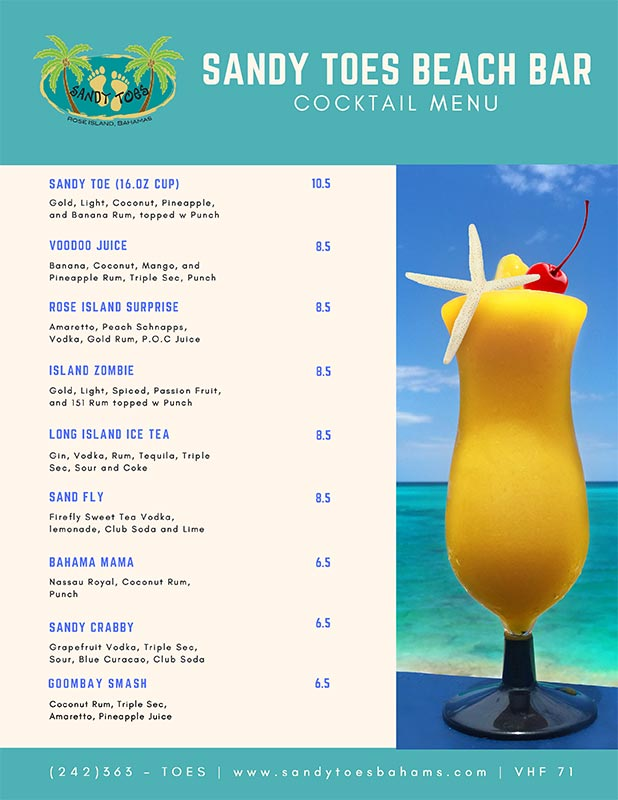 Sandy Toes Beach Bar Bar Menu